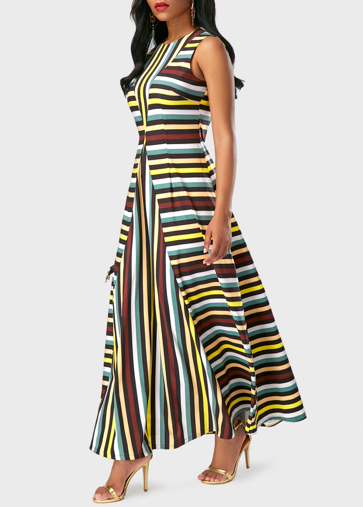 Spaghetti Strap Asymmetric Hem Cascading Ruffles Floral Printed Sleeveless Maxi Dresses reviews