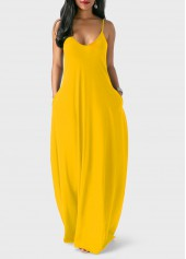 Ginger Open Back Spaghetti Strap Maxi Dress