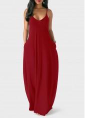 Open Back Pocket Decorated Maxi Dress