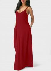 wholesale Open Back Pocket Decorated Maxi Dress
