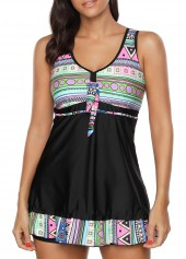 Padded Open Back Printed Swimdress and Shorts