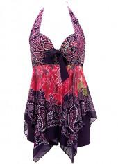 wholesale Printed Asymmetric Hem Halter Neck Swimdress and Shorts