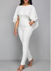 wholesale Zipper Closure V Back White Cloak Jumpsuit