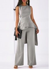 wholesale Round Neck Asymmetric Hem Top and Grey Pants