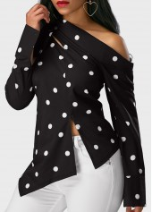 wholesale Polka Dot Print Long Sleeve Black Blouse