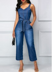 wholesale Belted Open Back Blue Pocket Jumpsuit