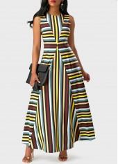 Sleeveless Stripe Print Round Neck Maxi Dress