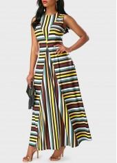 wholesale Sleeveless Stripe Print Round Neck Maxi Dress