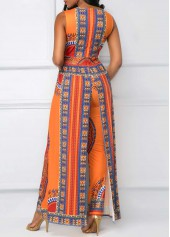 wholesale V Neck Overlay Embellished Dashiki Print Orange Jumpsuit