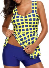 Padded Wide Strap Plaid Print Tankini Set