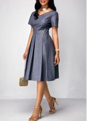 wholesale Pleated Short Sleeve Band Waist Dress