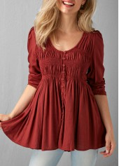 Pleated Button Up Wine Red Blouse