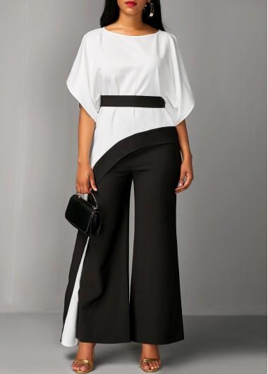Asymmetric Hem Half Sleeve Top and Black Pants