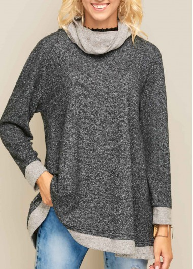 Cowl Neck Asymmetric Hem Long Sleeve Patchwork Sweatshirt