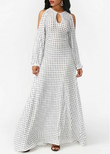 Keyhole Neckline White Split Sleeve Printed Dress