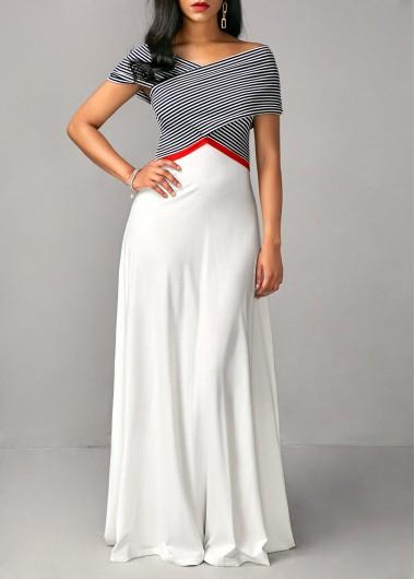 High Waist Criss Cross Shoulder Printed Dress