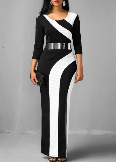 Side Slit Color Block Three Quarter Sleeve Dress