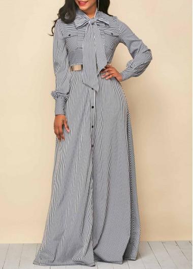 Tie Neck Stripe Print Button Up Maxi Dress