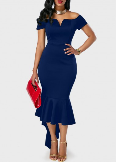 Peplum Hem Navy Blue Off the Shoulder Dress