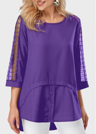 Round Neck Asymmetric Hem Mesh Panel Purple Blouse