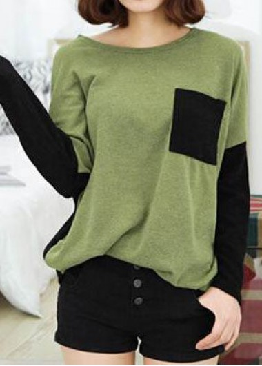 Patchwork Long Sleeve Round Neck T Shirt