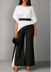 Asymmetric Hem Half Sleeve Top and Black Pants