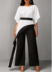 wholesale Asymmetric Hem Half Sleeve Top and Black Pants
