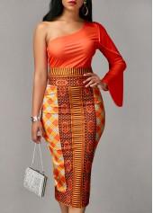wholesale Long Sleeve Orange Top and Printed Sheath Skirt