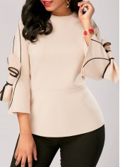 Flare Sleeve Zipper Back Bowknot Embellished Blouse