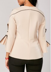 wholesale Flare Sleeve Zipper Back Bowknot Embellished Blouse