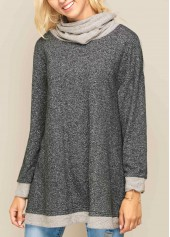 wholesale Cowl Neck Asymmetric Hem Long Sleeve Patchwork Sweatshirt
