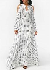 Keyhole Neckline White Split Sleeve Printed Dress