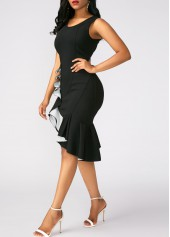 wholesale Black Peplum Hem Sleeveless Sheath Dress