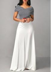wholesale High Waist Criss Cross Shoulder Printed Dress