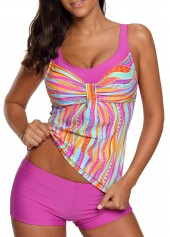 Printed Padded Scoop Neck Tankini Set