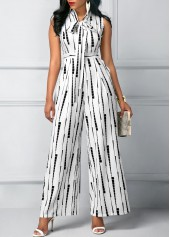 Sleeveless High Waist Printed White Jumpsuit