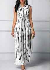 wholesale Sleeveless High Waist Printed White Jumpsuit
