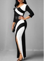 wholesale Side Slit Color Block Three Quarter Sleeve Dress