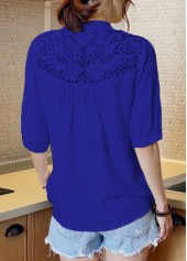wholesale Lace Panel Navy Blue Split Neck Blouse