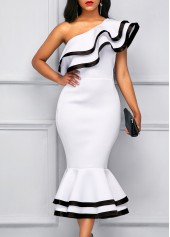 Peplum Hem One Shoulder Contrast Binding Sheath Dress