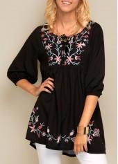 Black Blouson Sleeve Flower Print Blouse