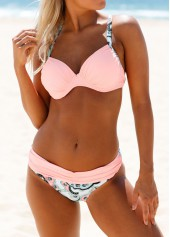 wholesale Criss Cross Back Printed Pink Bikini Set