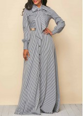 Tie Neck Stripe Print Button Up Maxi Dress