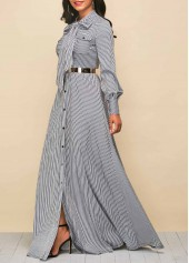 wholesale Tie Neck Stripe Print Button Up Maxi Dress