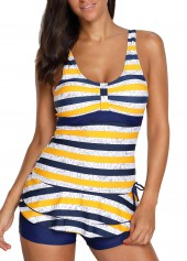 Stripe Print Layered Hem Tie Back Tankini Set