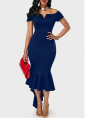 wholesale Peplum Hem Navy Blue Off the Shoulder Dress