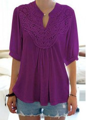 Half Sleeve Split Neck Purple Blouse