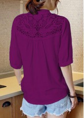 wholesale Half Sleeve Split Neck Purple Blouse