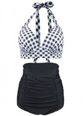Plaid Print Halter Swimwear Bra and Ruched Shorts