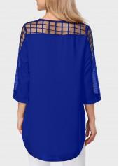 wholesale Mesh Panel Royal Blue Asymmetric Hem Blouse